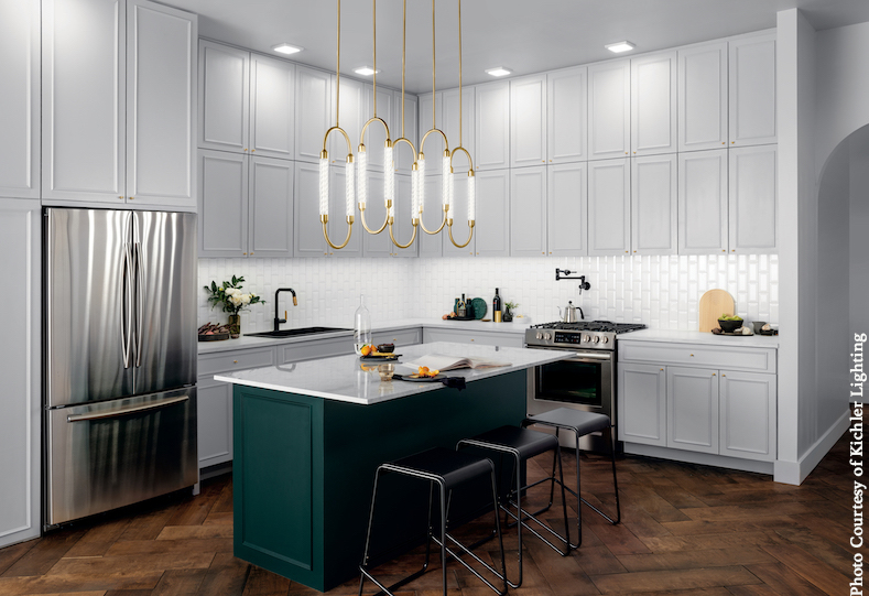 kitchen remodel with modern brass tube chandelier