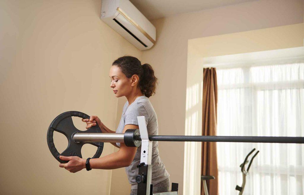 Home gym with split unit ac system